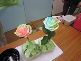 「緑に学ぼう きになる植物大解剖!」のお話で行った実験の1つです!どうして花にいろいろな色がついたのでしょうか?